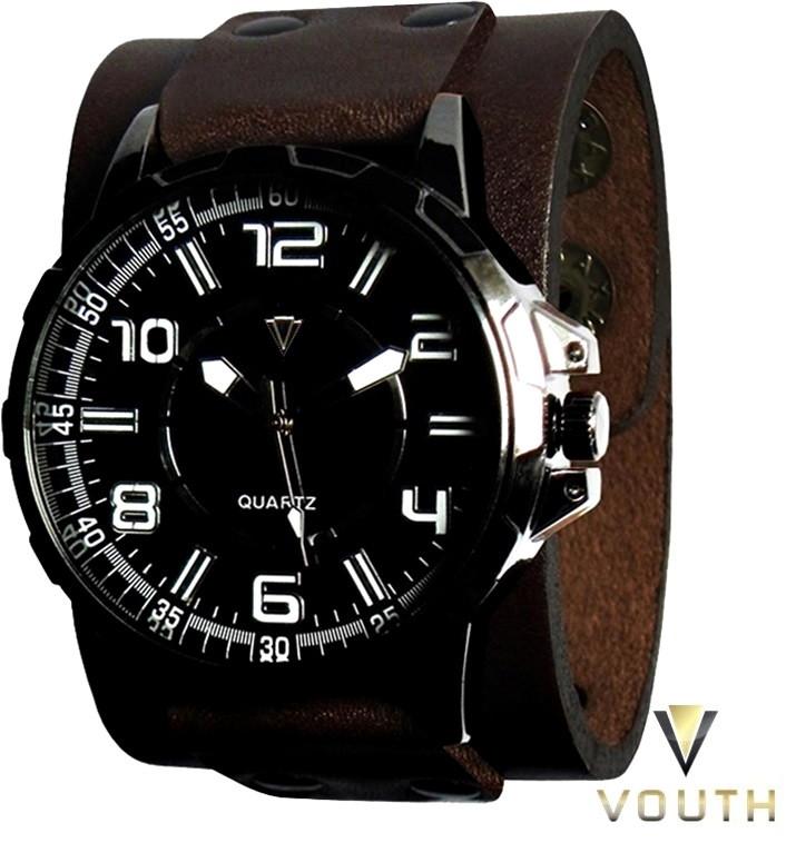 0598a115deb Relógio Bracelete De Couro Masculino no Elo7