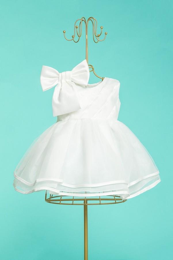 0c85ef734 Kit vestido branco batizado+sapato pérola e tiara 4 a 8meses no Elo7 ...