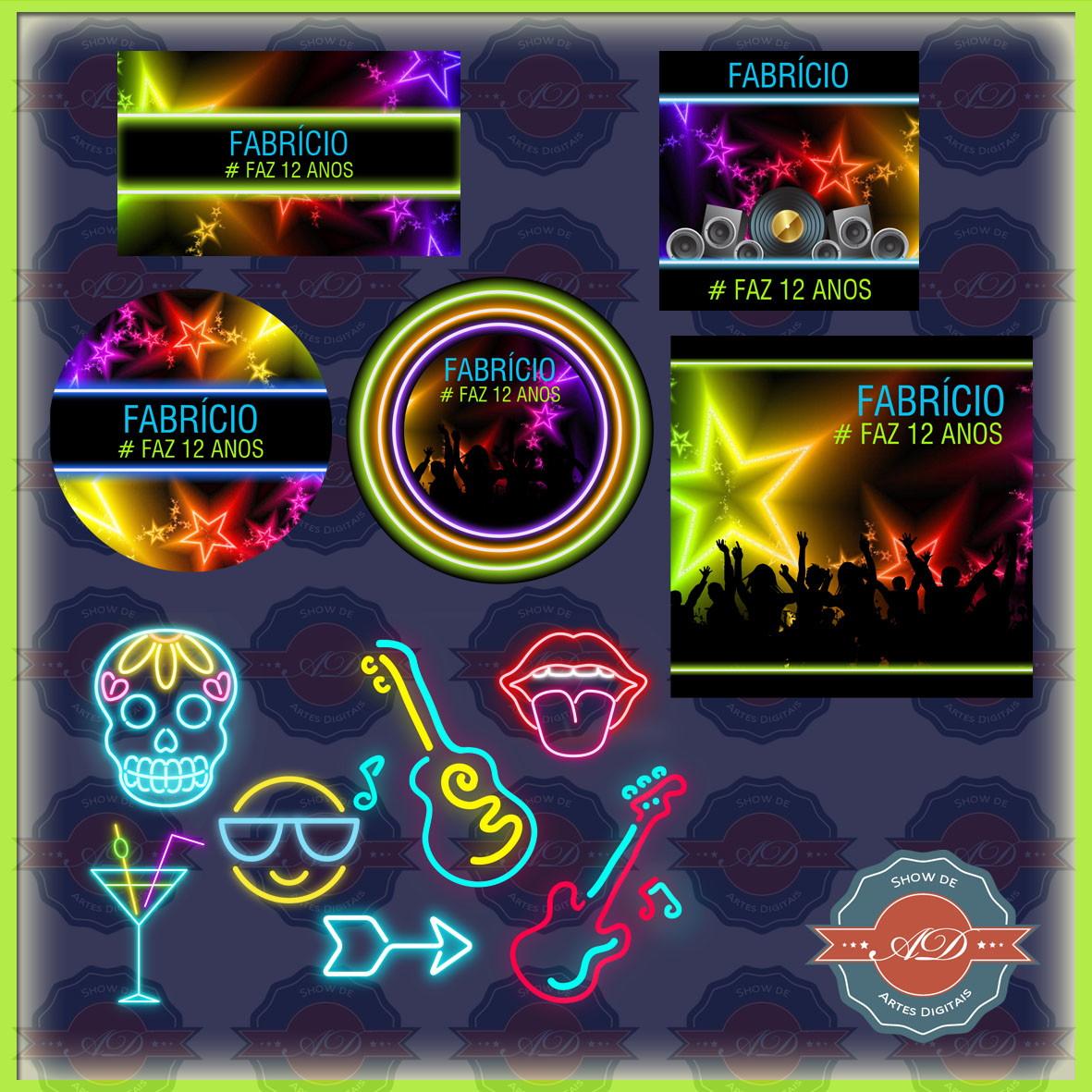 279519ad4 Kit Festa Digital Balada Neon no Elo7