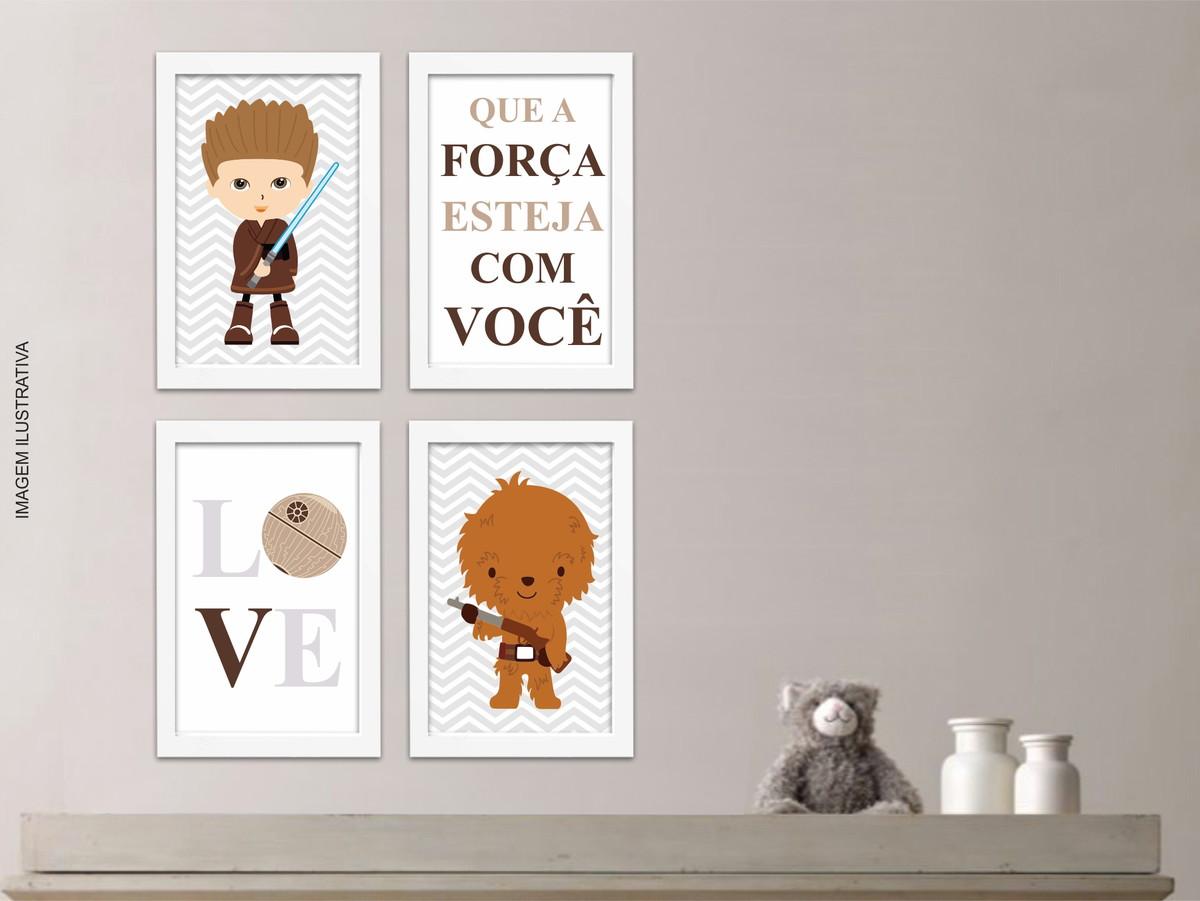 4 Quadros Decorativos Star Wars Baby Quarto Menino Decorar E  ~ Decorando A Parede Do Quarto E Tema De Quarto De Menino