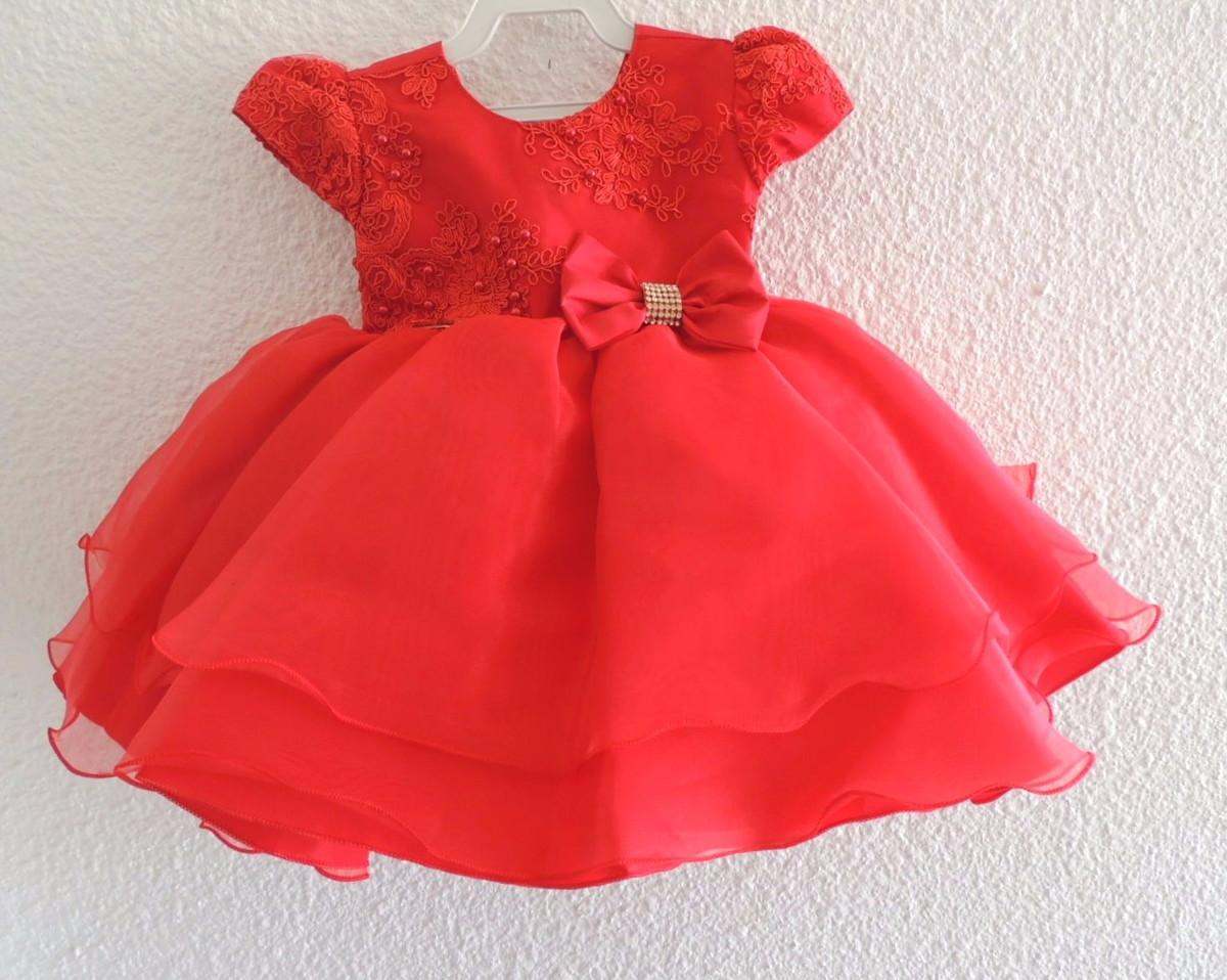 00555d5ff2e1 Vestido Bebê Festa Vermelho com Renda no Elo7 | Pike Moda Infantil ...