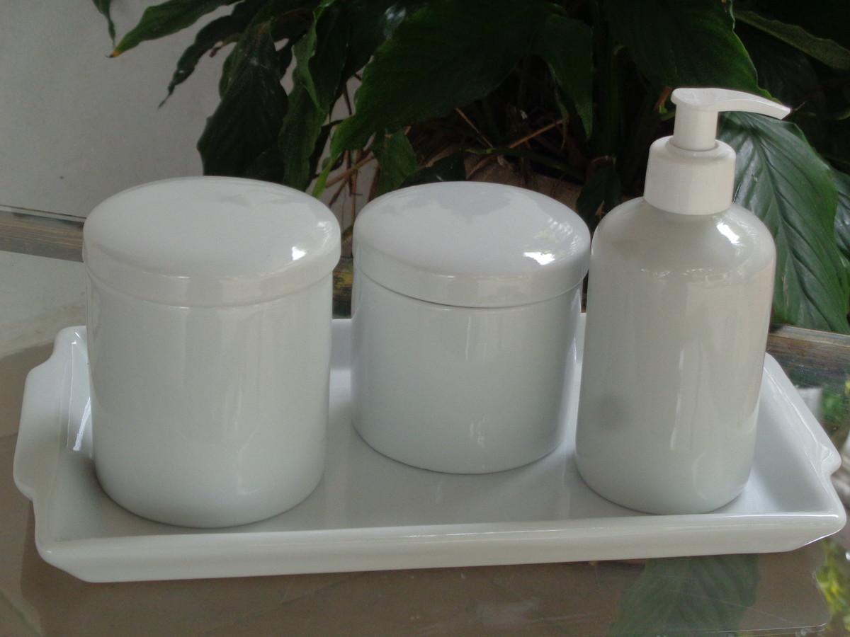 Kit Higiene Banheirolavabo Potes Bandeja Porcelana M 30x17