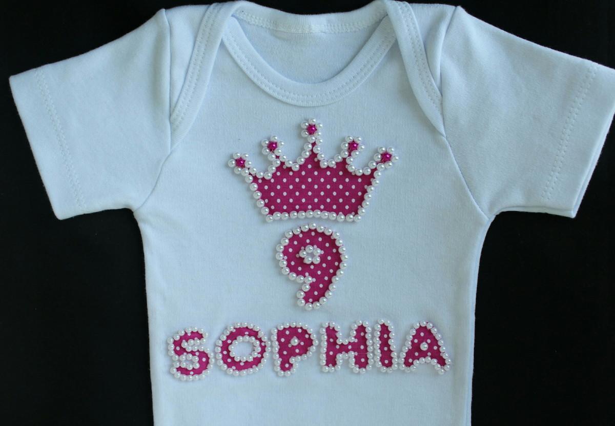 3c791f01f Body infantil personalizado com pérolas (coroa) no Elo7   Mimos em ...
