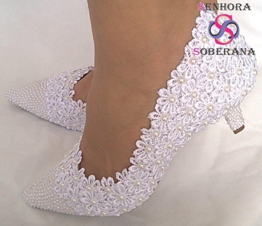 998efcef8 Sapato branco florado casamento (Noiva) no Elo7 | Senhora Soberana ...