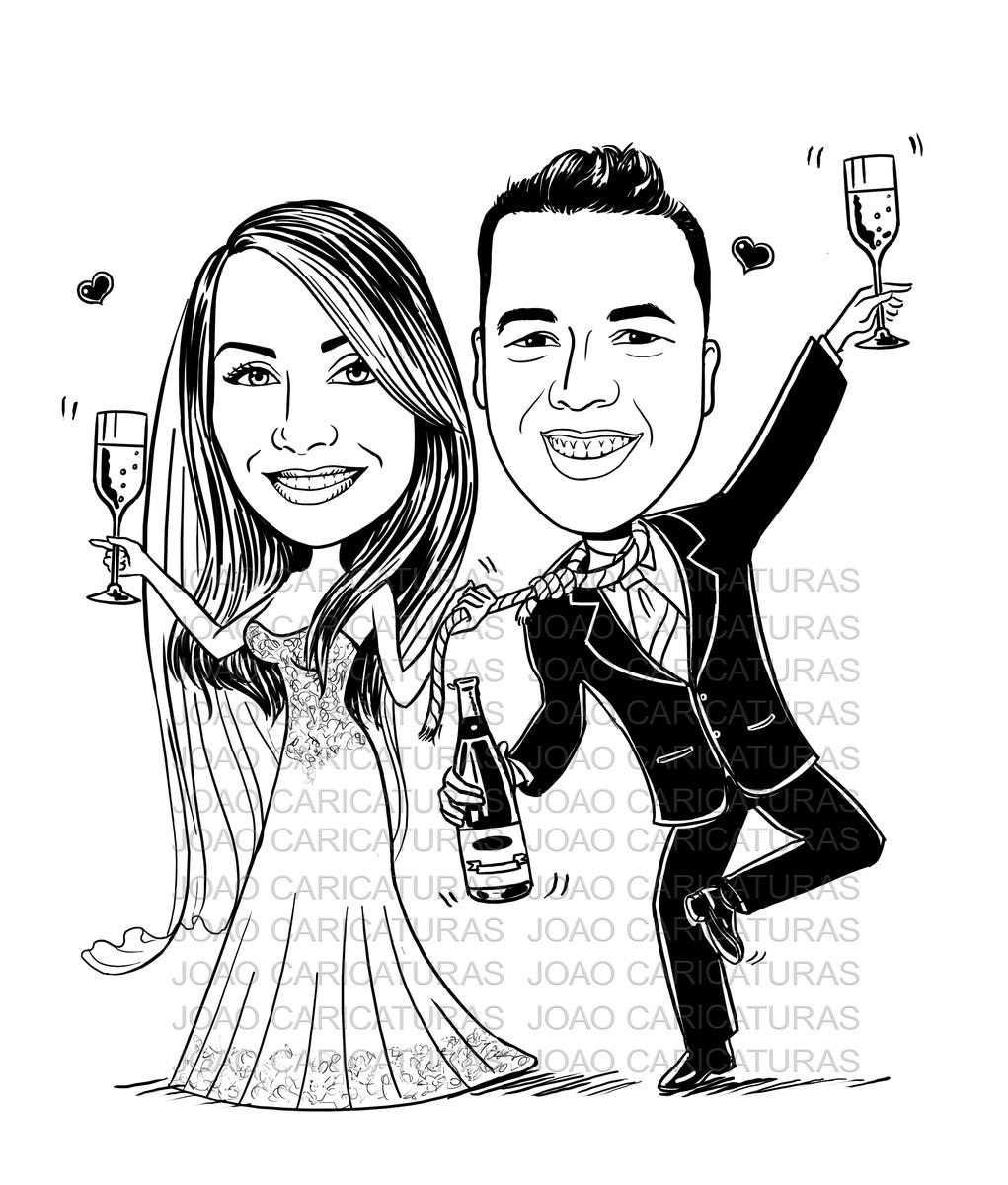Caricatura De Casal Em Preto E Branco Tema Brindando No Elo7
