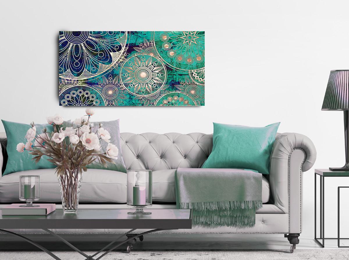 Quadro Abstrato Mandala Azul Turquesa E Branco 55×100 Atelier  ~ Escritorio No Quarto De Casal E Quarto Casal Azul Tiffany