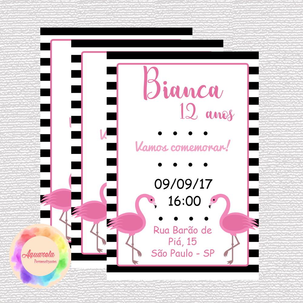 Convite Flamingo 15x10 (Impresso) No Elo7