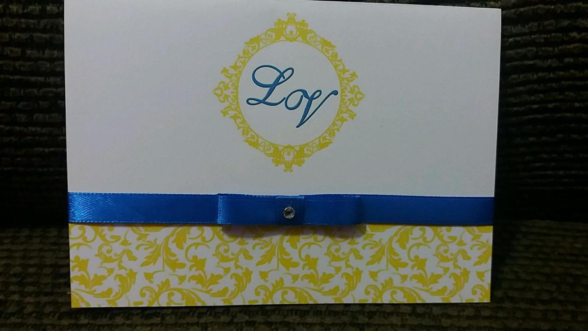 0767379787bc0 Convite Casamento Azul Royal com Amarelo no Elo7   Sonhando com a ...
