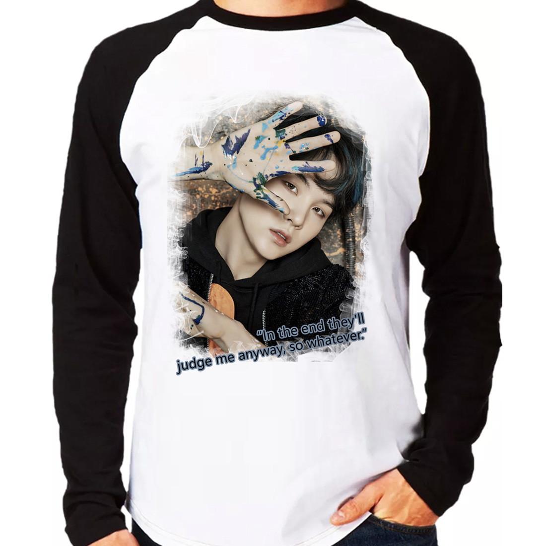 8d5412e282d53 Camiseta BTS Bangtan Boys Suga Walk Alone Raglan Manga Longa no Elo7 ...