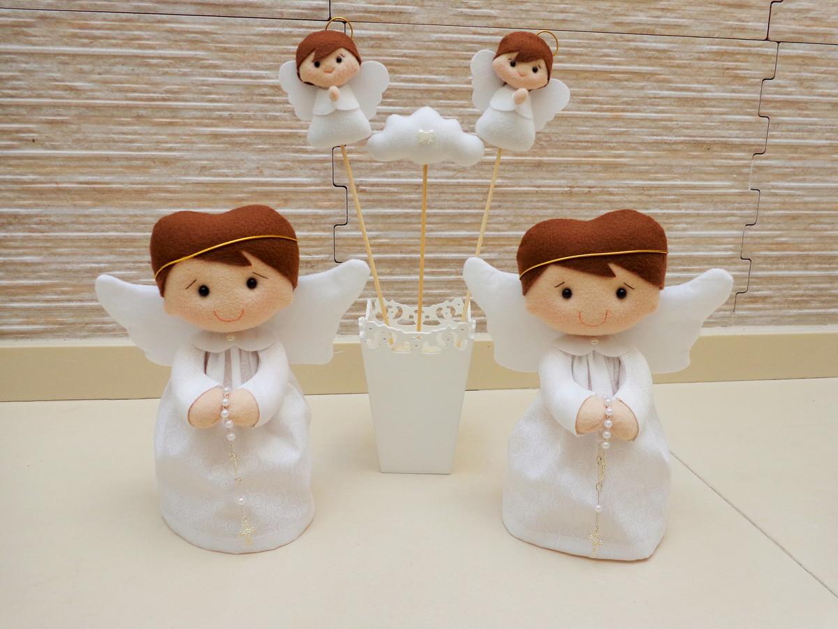 e1532fec874 kit Anjos decoração de batizado 5 unidades no Elo7