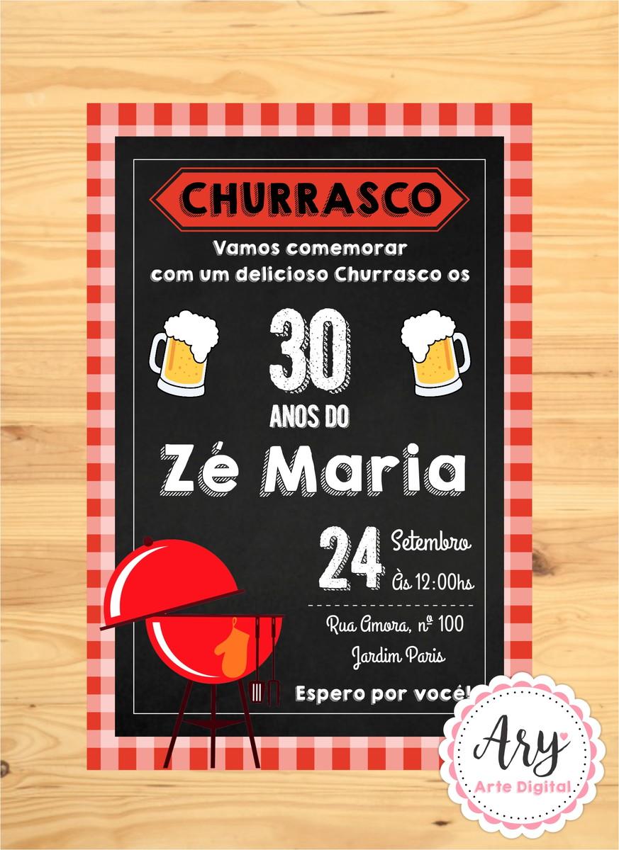 Convite Digital Churrasco E Cerveja Chalkboard No Elo7 Ary Arte