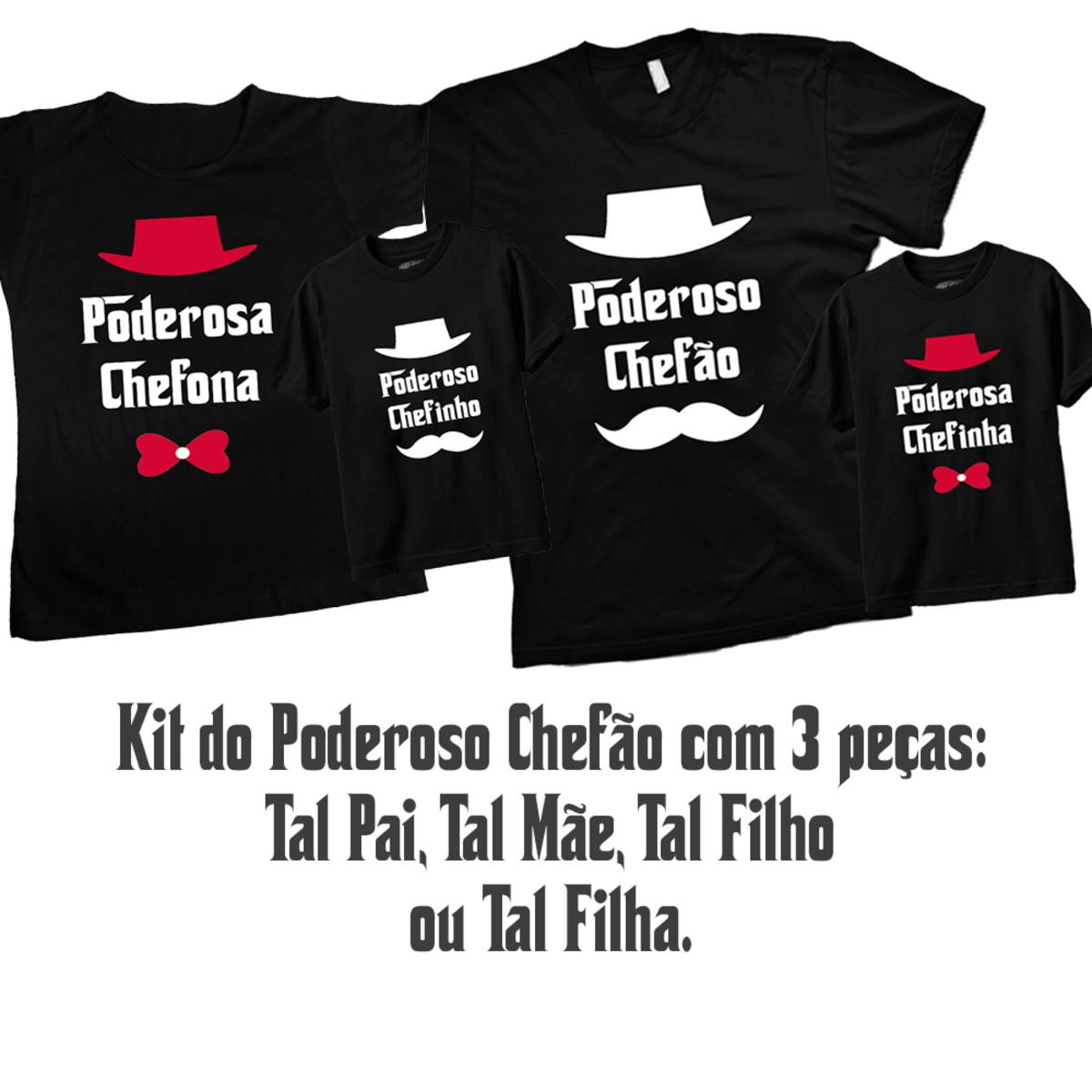 abbe5911f98ee0 Kit Tal Pai Tal Mãe Tal Filho(a) Poderoso Chefão com 3 peças