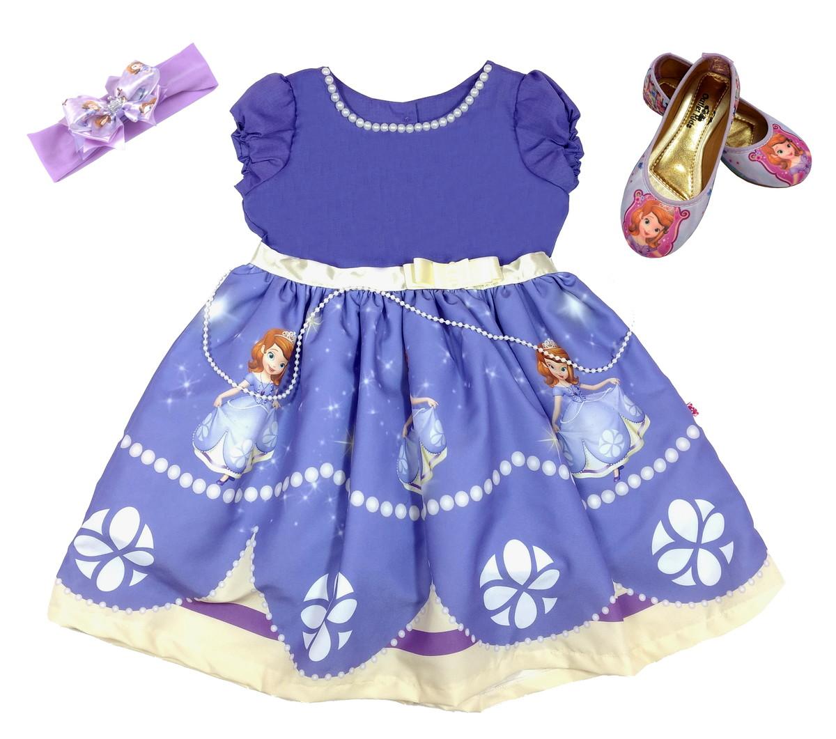 Vestido Princesa Sofia Tam81012 Com Mangafarixasapatilha