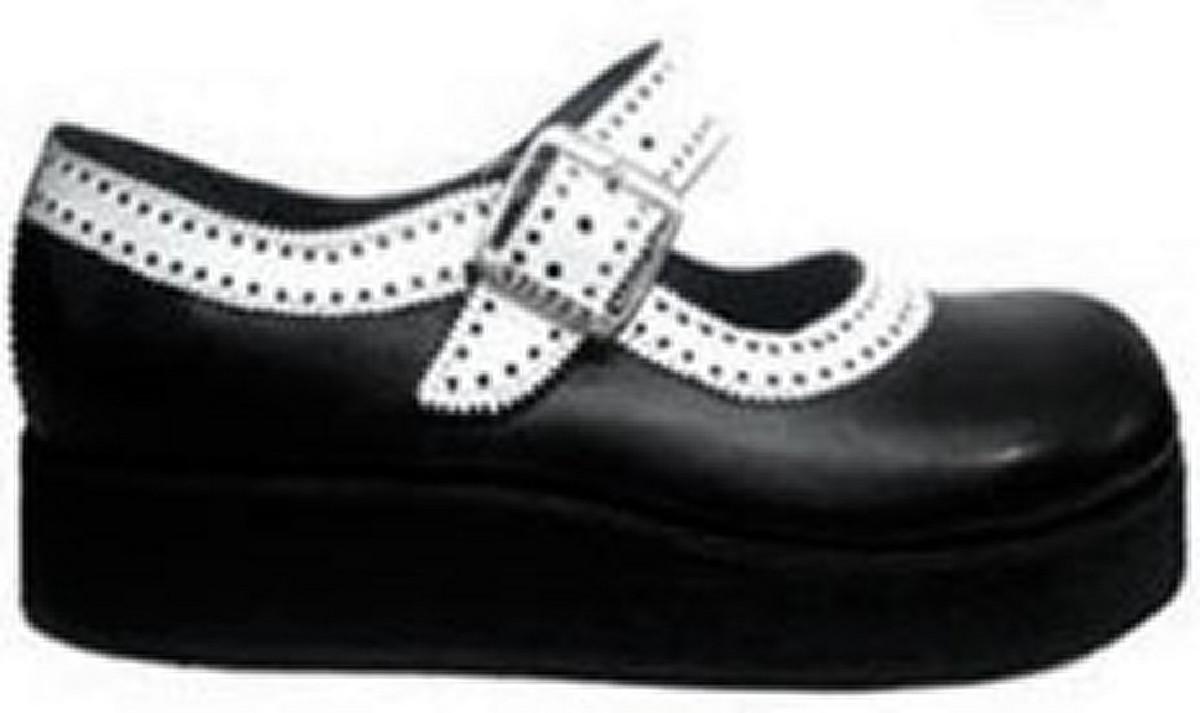 3cbf56368f Sapato Boneca Sola Baixa Preto Branco Gangster Couro Ref151 no Elo7 ...