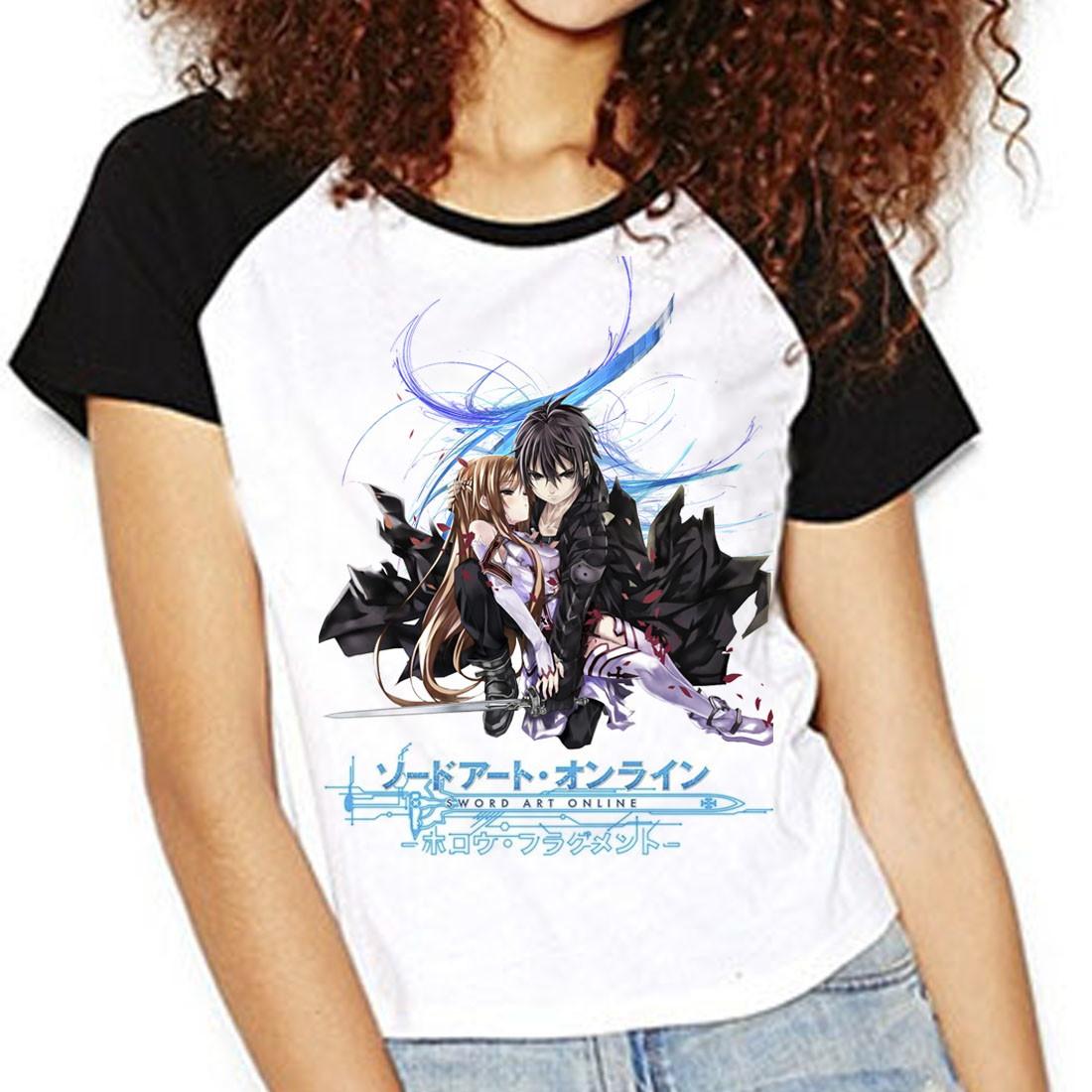 f87b95289 Camiseta SAO Asuna Kirito Raglan Babylook no Elo7