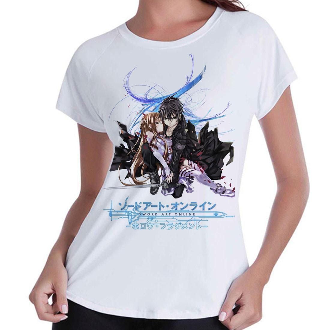 3a11595d3 Camiseta Babylook SAO Asuna Kirito no Elo7