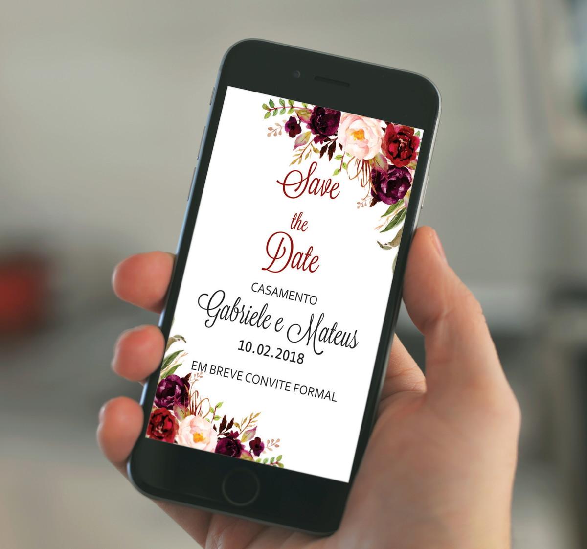 save the date floral marsala digital no elo7 fê franco artes