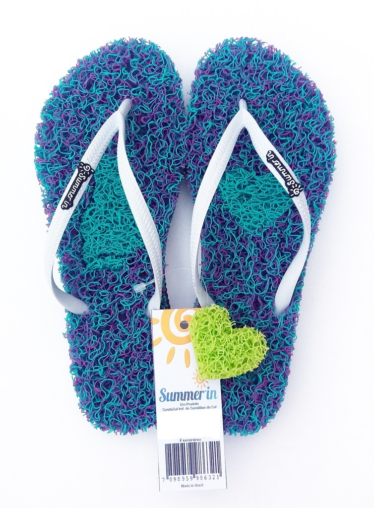 5f9a0dbe4 Chinelo Capacho Massageador Summer In - MESCLADO VERDE/ROXO no Elo7 ...