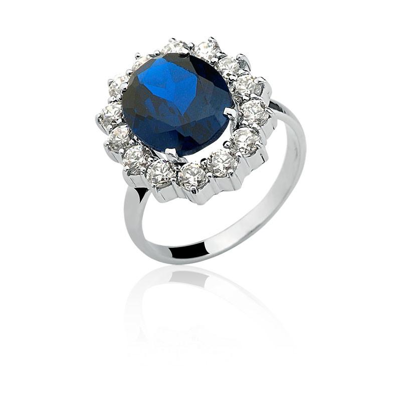 9fb00cdc6197c Anel Princesa Kate Ouro Branco 10k Safira Azul no Elo7   SUBLIME ...