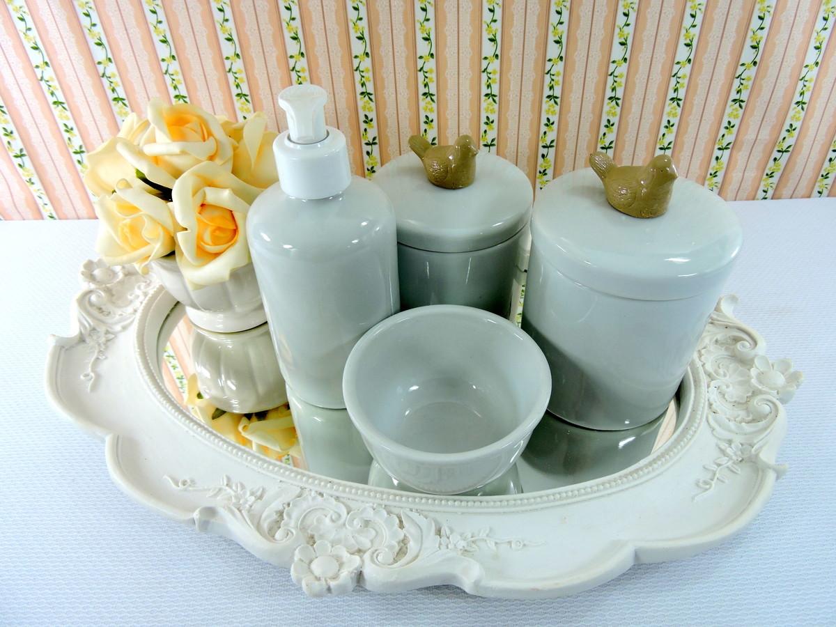 Kit Higiene Quarto Do Beb Passarinho Porcelana Ateli Casa E  ~ Espelho Para Quarto Infantil E Quarto De Bebe Cavalinho