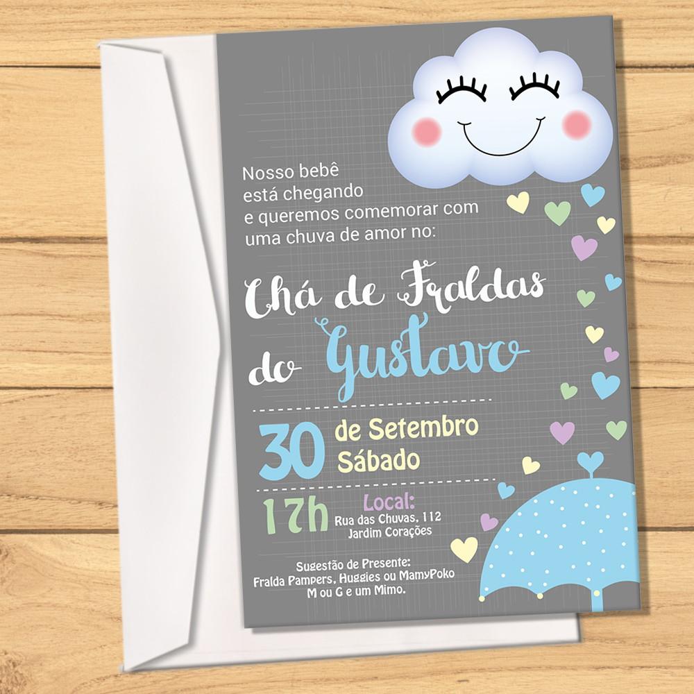 Convite Envelope Chuva De Amor Menino No Elo7 Design Party A52ab2