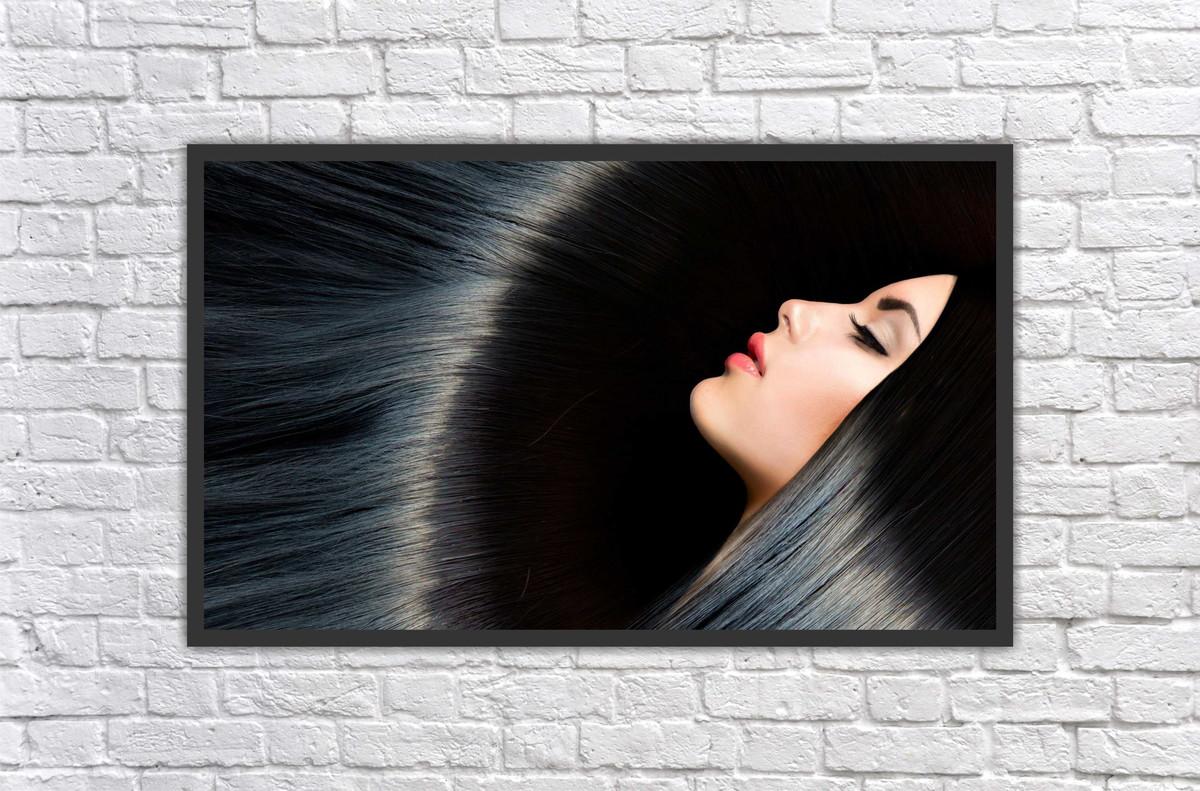 Quadro su tela capelli mossi red fashion girl portrait u pixers