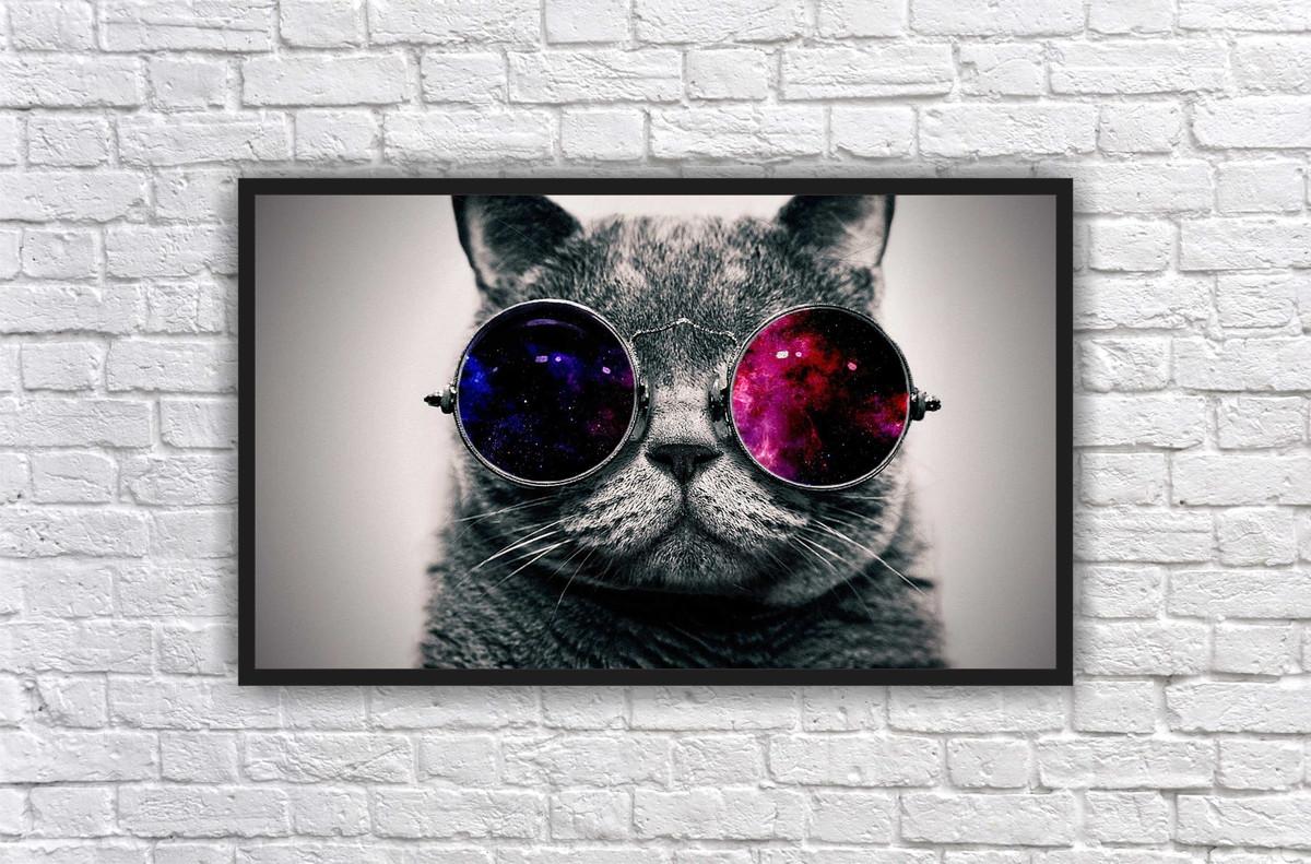 Quadro Gato De Óculos Felino PET Decoração Salas Interiores no Elo7 ... 68dbe6aea9