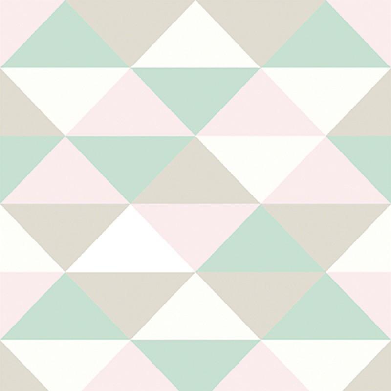 Aparador Em Ingles ~ Papel de Parede Infantil Tri u00e2ngulos rosa verde bege branco no Elo7 Sete Saba (A56EEE)