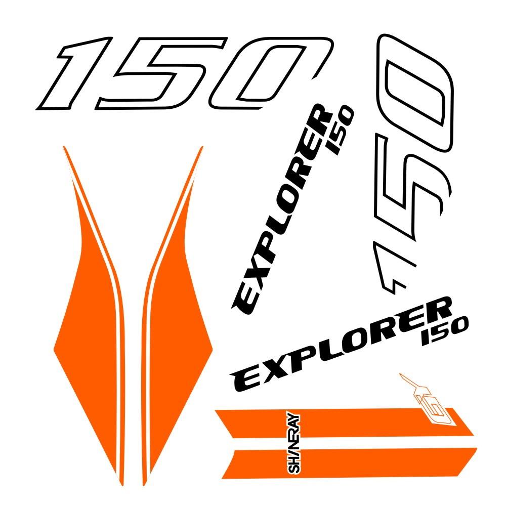 Faixa shineray explorer 150 branco com laranja no Elo7  587d2b32205