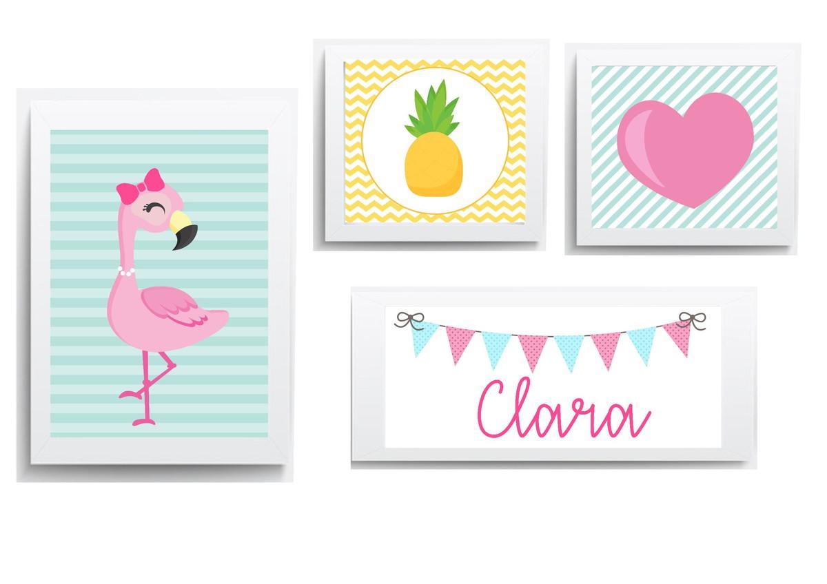 Decora O Infantil Quadro Menina Sonhe Alto Flamingo Abacaxi  ~ Imagens Para Quadros De Quarto Para Imprimir Abacaxi