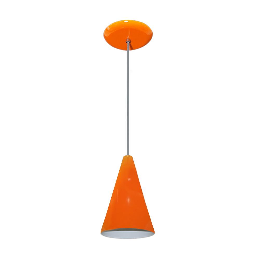 Luminaria Pendente Colorido Cone Laranja Lustres Amandini Elo7 ~ Lustre Para Cozinha Americana