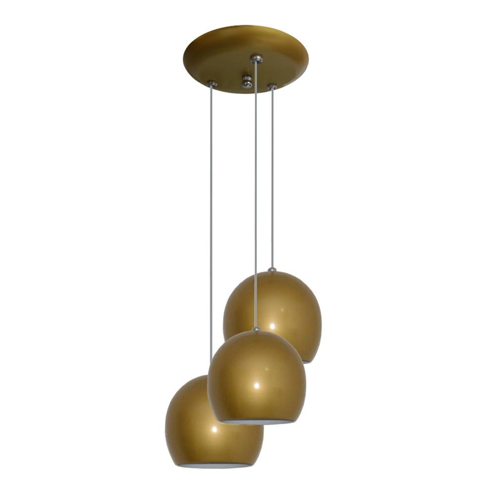 Luminaria Pendente Colorido Bolinha Dourado No Elo7 Lustres
