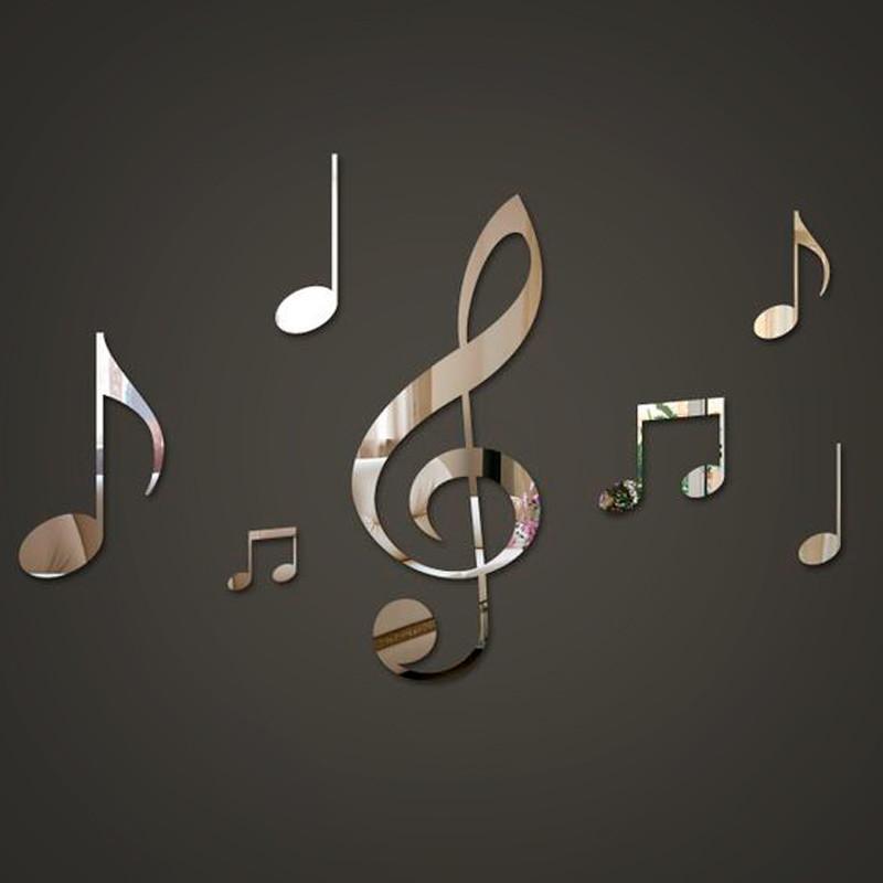 10pcs Notas Musicais espelhos de acrílico Adesivo De Parede Decorações De Casa Sala
