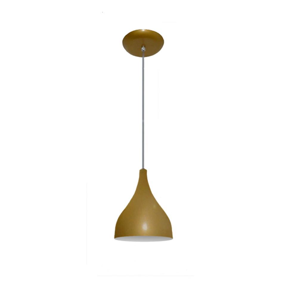 Lustre Pendente Colorido Funil Pequeno Dourado No Elo7 Lustres