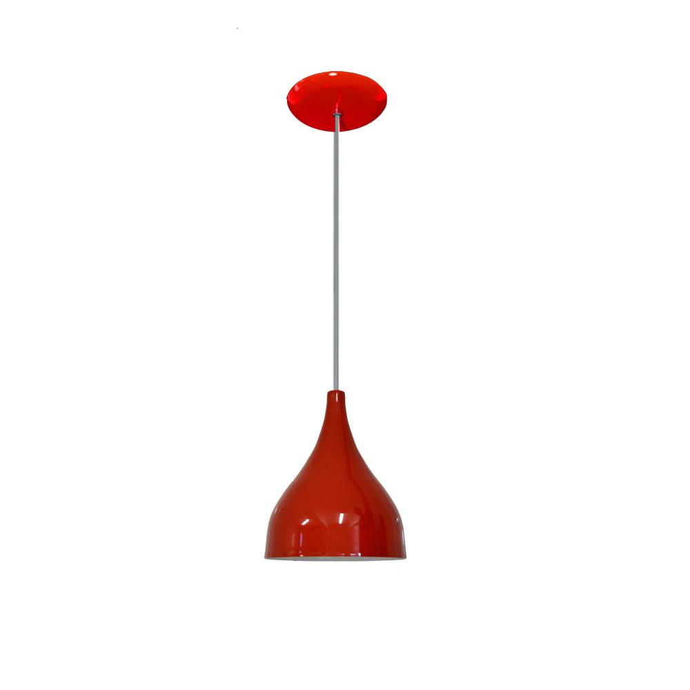 Lustre Pendente Colorido Funil Pequeno Vermelho No Elo7 Lustres  -> Lustre Para Sala De Jantar Vermelho