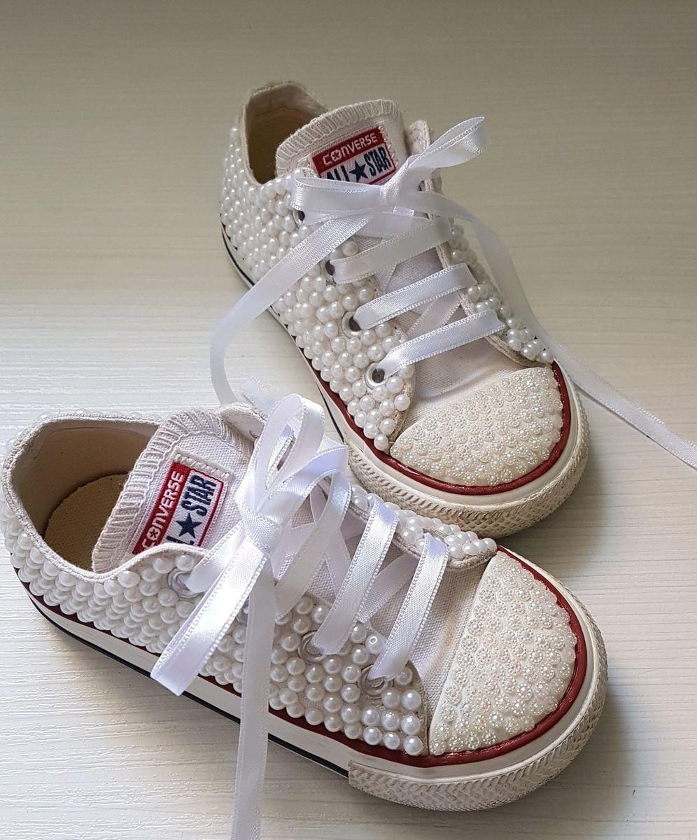Tênis all star com perolas no Elo7  ef7747ea97960