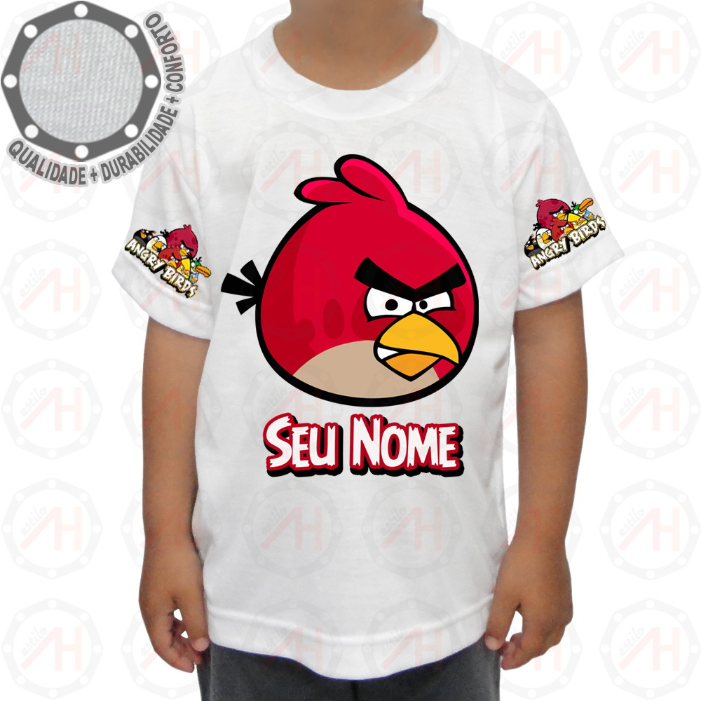 Camiseta Angry Birds Camisa Red Bird ah00201 no Elo7  ba8edb5247d
