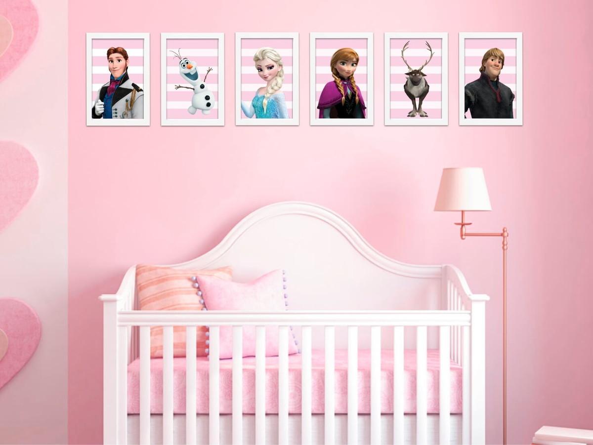 Kit 6 Quadros Frozen Decora O Quarto Menina Loja Presente  ~ Quarto De Bebe Parede Com Poster Decoração Quarto