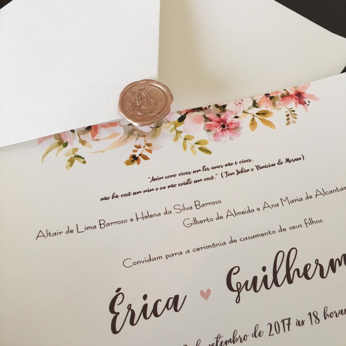 Convite érica E Guilherme Lacre De Cera No Elo7 Camila Garcia