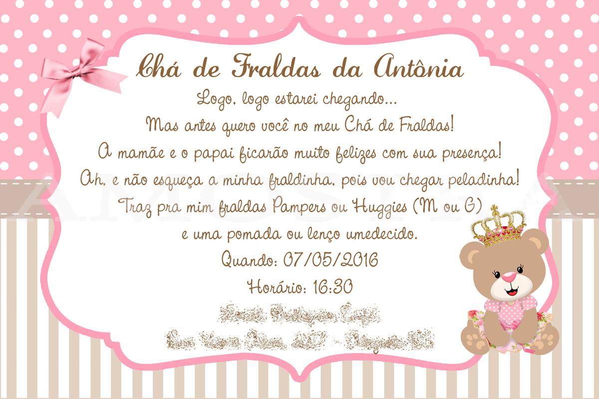 Convite Chá De Bebê Ursinha Princesa No Elo7 Clik E Decore