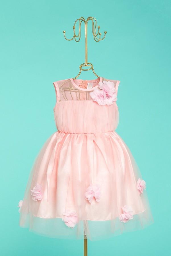 Vestido Bebê Rosa Festa 3 A 6 M Promoção