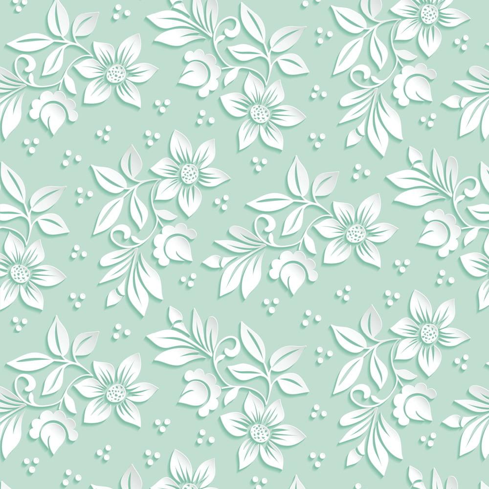 Papel de parede floral fundo verde for Papel lavable para paredes