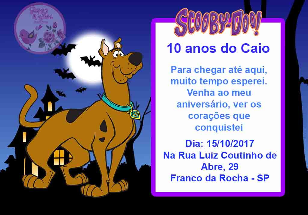 Convite Scooby Doo Modelo 1 No Elo7 Passaros E Flores Convites