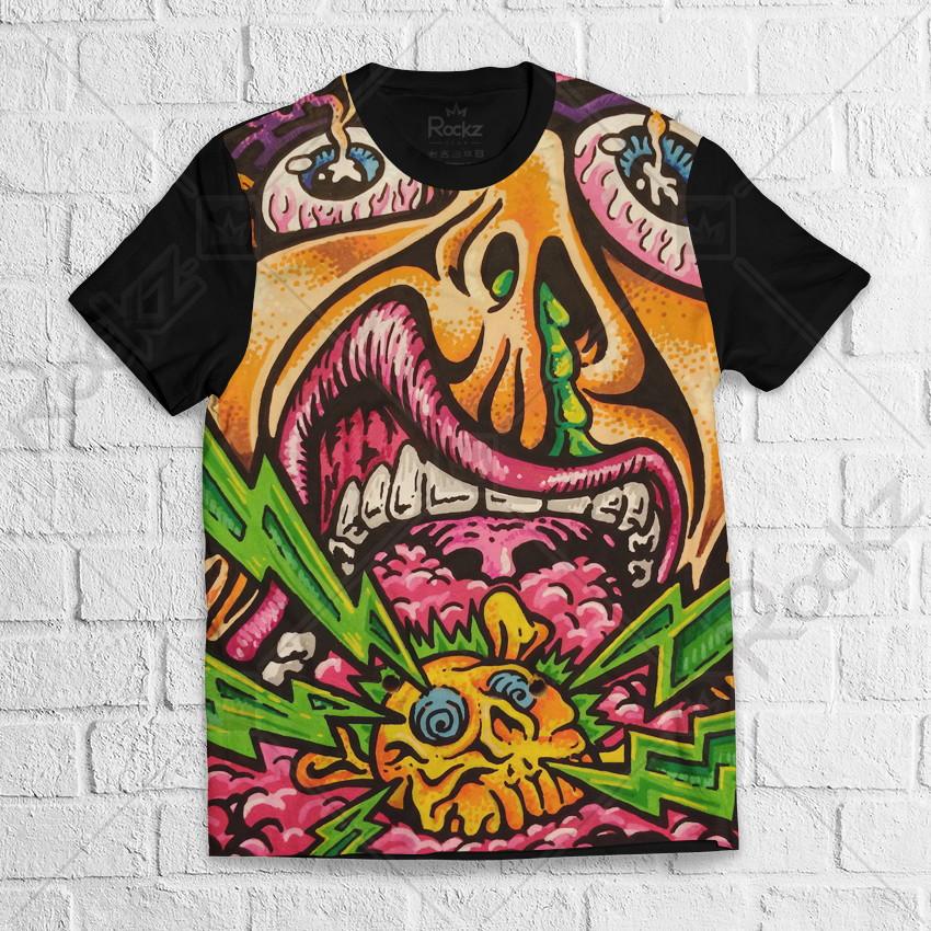 47af202c96 Camiseta Ramones Psy Rave Acid Psicodélica Masculina no Elo7