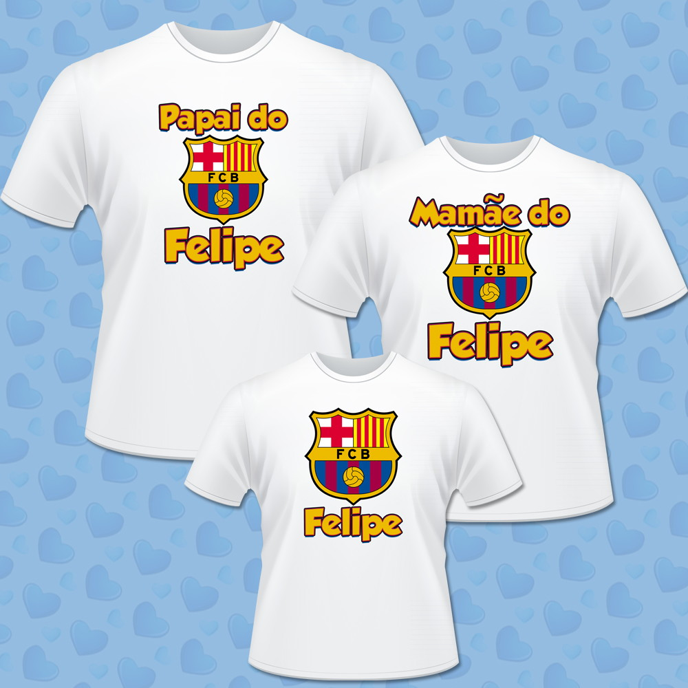 Kit 03 camisetas personalizadas Barcelona no Elo7  884c60ea66ce2