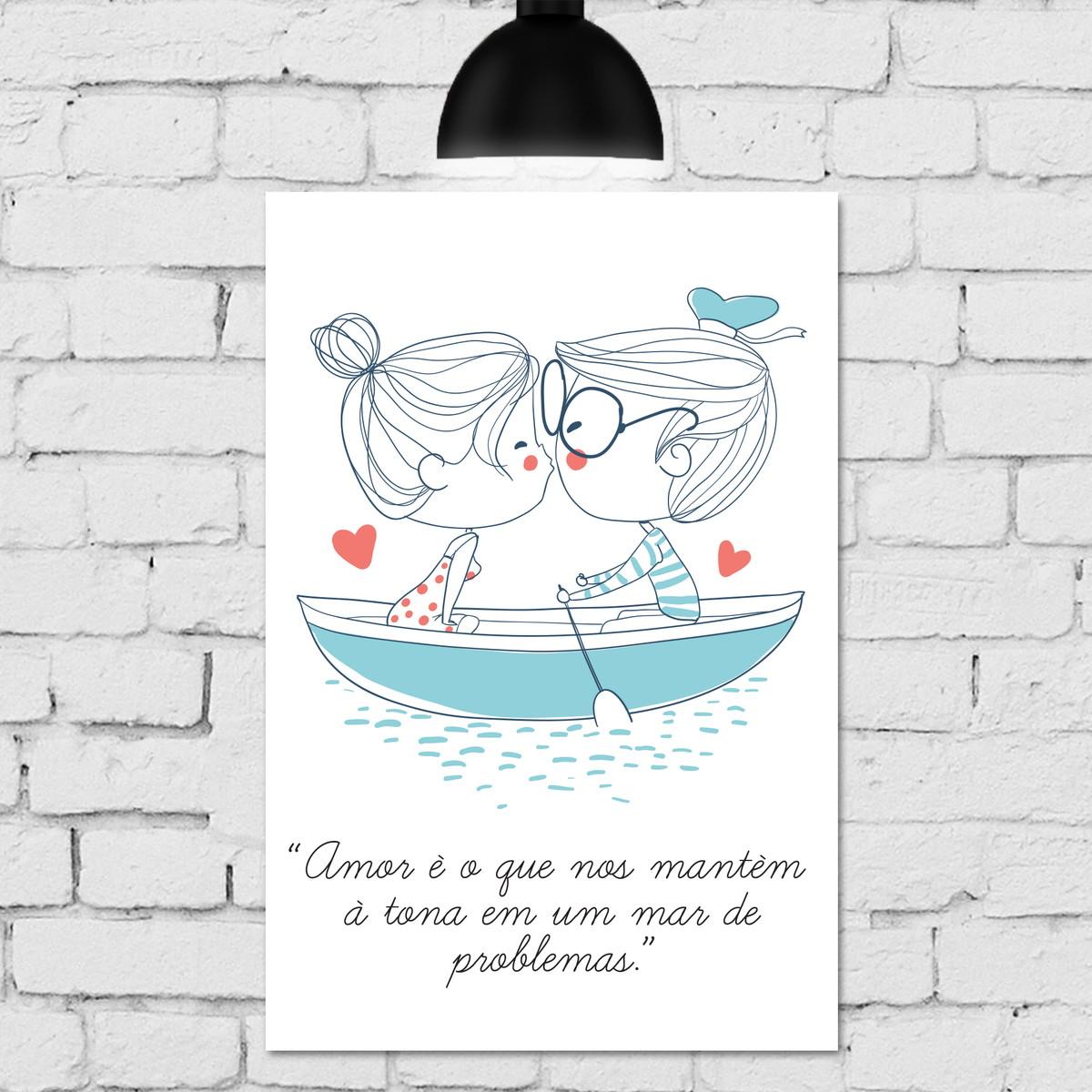 Placa Decorativa Mdf Frase Amor Namorados Barco 30x40cm No Elo7