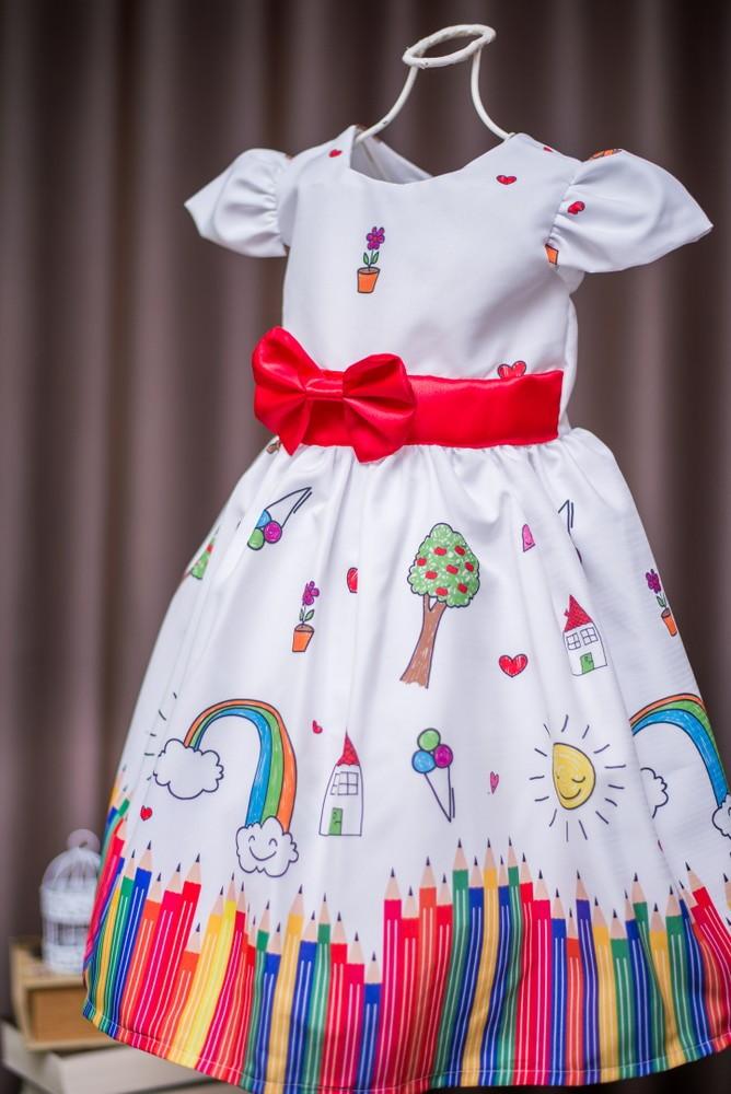 0bc94bcd1c Vestido de Festa Infantil Aquarela no Elo7
