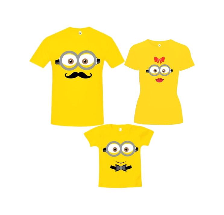 e289d3cef57f Camiseta Pai Mãe e Filho Carinhas de Minions no Elo7   Toca do Panda ...