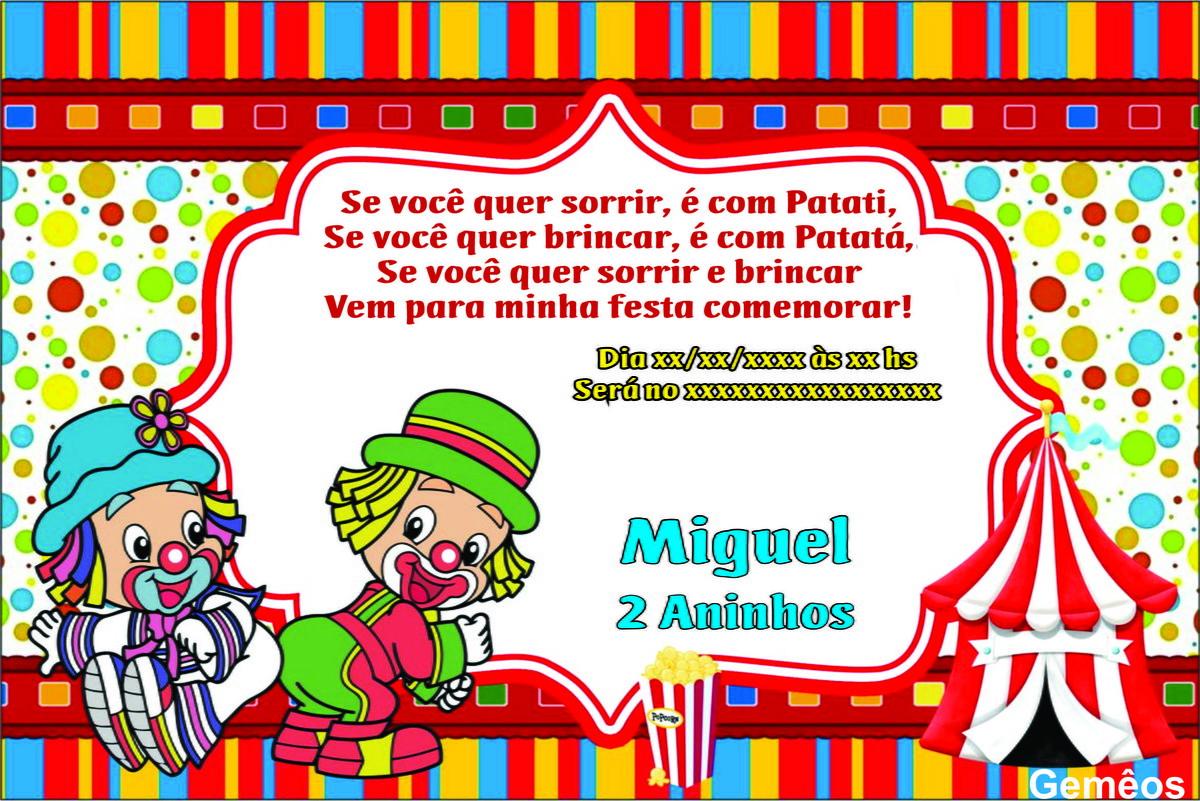 Convite Personalizado Digital Infantil Patati Patatá No Elo7
