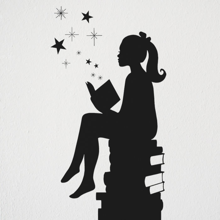 Adesivo Parede Menina E Livros Estrela No Elo7 Ld Creativity